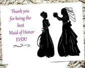 Maid of Honor Bridesmaid Thank you Card Greeting bride wedding gift silhouette pink black