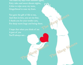 Mother and Son Mother's Day Poem Heart Silhouette Coral 8 x 10 Print Wall art FREE SHIPPING
