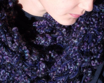 INDIGO INFINITY SCARF chunky knit midnight indigo purple navy blue Purple Accessory