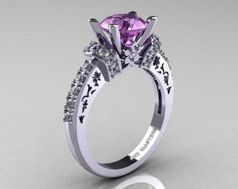 Modern Armenian Classic 14K White Gold 1.5 Ct Lilac Amethyst Diamond Wedding Ring R137-14KWGDLA