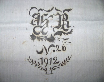 Antique german grain sack  , linen, hand woven, printed,  * P