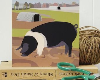 Saddleback Pig card - rare breed, farmyard, blank, birthday card