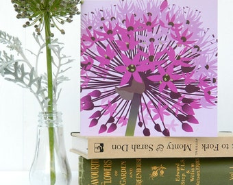 Flower Birthday Card - Purple Allium, Card for Gardeners, Blank card,