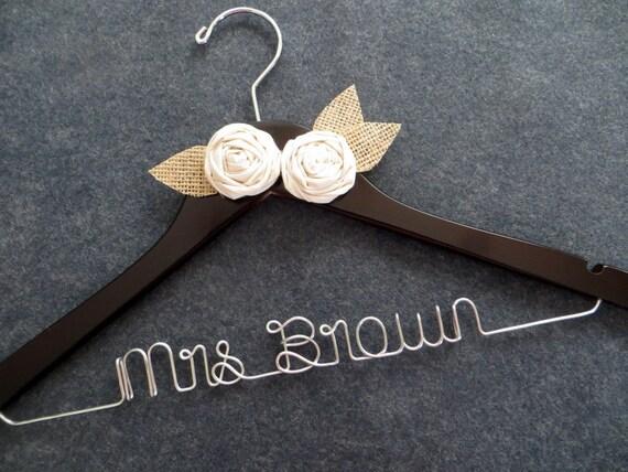 RUSTIC Wedding Dress Hanger - Personalized Bridal Hanger - Burlap Muslin Hanger - Custom Bride Gift - Shower Gift - Mrs Name Hanger