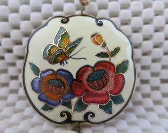 Pendant,Cloisonné,White Enamel,Asian,Flowers, NOW ON SALE