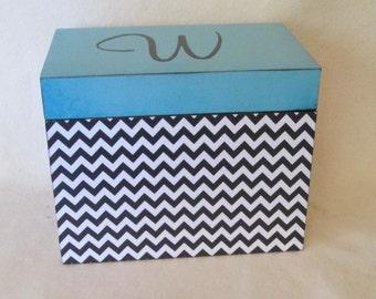 Recipe Box, Black & Teal Chevron Wooden Recipe Box - Personalized - for 4x6 recipe cards