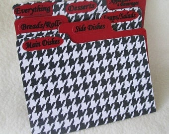 Recipe Card Dividers for Houndstooth - Red - Recipe Box