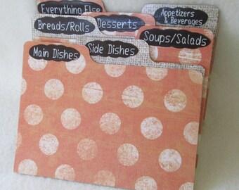 Recipe Box Dividers for Orange Polka Dot - Burlap Recipe Box