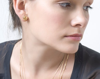 Gold Bar Chain, Gold Necklace, Delicate Gold Layered Necklace,  Twist Bar Link Necklace Chain,