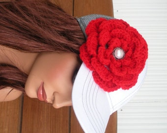 Womens Hat Baseball Hat Cap Summer Fashion Accessories Women Trucker Hat Sport Hat in White and Gray with Red Crochet Flower