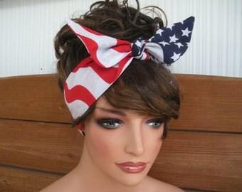 American Flag Headband 4th of July Headband Accessories Women Head Scarf Dolly Bow Headband by creationsbyellyn