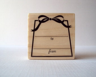 To & From Present Wooden Mounted Rubber Stamping Block DIY cards, scrapbooking, tags, Invitations, Greeting Cards