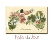 Four-leaf clover illustration - Vintage French Postcard 1900s - French Handwriting