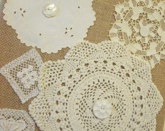 Vintage Doily Wall Art, Collage Wall Hanging, Doilies and Buttons