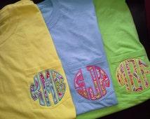 Circle Monogram Appliqued Comfort Colors Pocket Tee Shirt / Personalized Pocket Tee / Appliqued Monogram Shirt / Short Sleeve / Long Sleeve