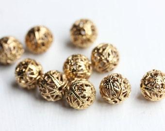 Gold Filigree Beads, Gold Beads, Filigree Beads, Fancy Beads, Brass Beads (10x)