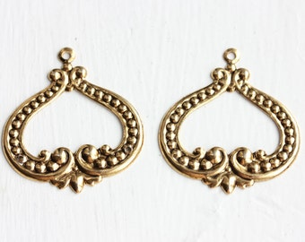 Gold Filigree Findings (2x)