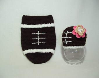 Adorable Very Soft Boy or Girl Football Outfit  Nice Gift for a Photo Prop --- READY TO SHIPP ( 0 - 3m ) ----