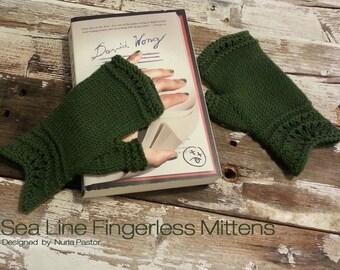 Sea Line Fingerless Mittens Knitting Pattern