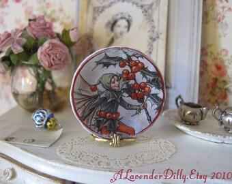 Holly Flower Fairies Dollhouse Plate