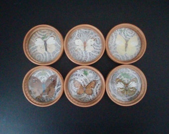 6 Wooden Coasters with Butterflies