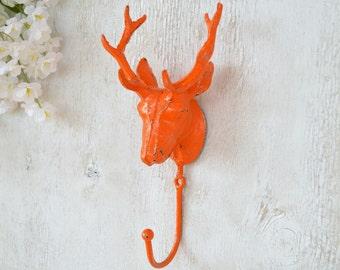 Deer Head Hook, Antlers, Cast Iron Hook, Coat Hook, Towel Hook, Robe Hook