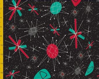 ATOMIC aqua vintage retro 50s 60s franciscan starburst north star textile fabric starburst pinup rockabilly cotton new pink quilting 1950's