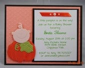 Handcrafted Pumpkin Baby Shower Card, Invitation