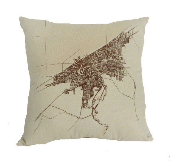 Cleveland 1904 Map (Halftone Lake), on Raw Canvas Throw Pillow - 13'' x 13''