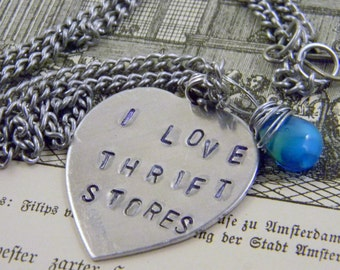 Stamped I LOVE THRIFT STORES Blue Glass Heart Briolette Charm Necklace Valentine's Day Graduation Gift