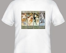 Alfonse Mucha Les Saisons Vintage Illustration  Adult Tshirt -- other tshirt color and personalization available - adult sizes S-3X