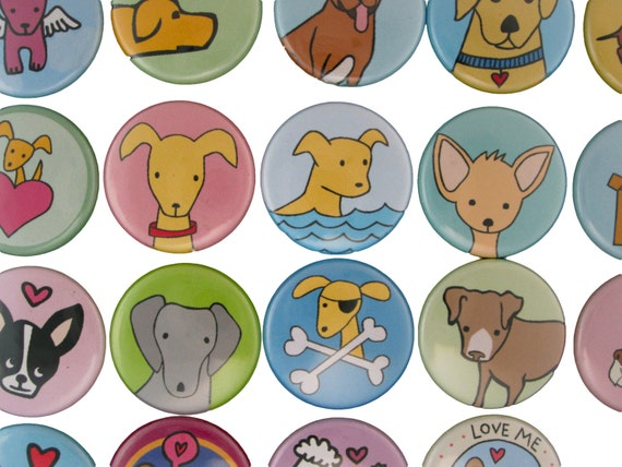 Puppy Time - Pick your 4 Dog Pinback Buttons - Set of Puppy Pins - Golden Retreiver, Boston Terrier, Pit Bull, Dachsund, Weimaraner, Poodle