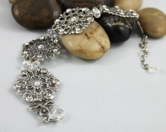 Oxidized Silver Bridal Bracelet, Elegant Formal Crystal Wedding Jewelry