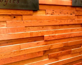 Reclaimed Antique Oak Multi Dimensional Wall Covering Paneling Wainscoting Recycled Wood