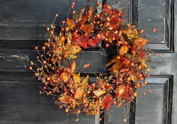 Fall Wreath Chinese Lantern Berry Wreath Primitive Wreath