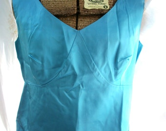 Vintage Blue Satin Sleeveless Blouse ~ Turquoise ~ Metal Zip Back