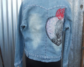 Heart Guadalupe on Stretchy Jean Jacket