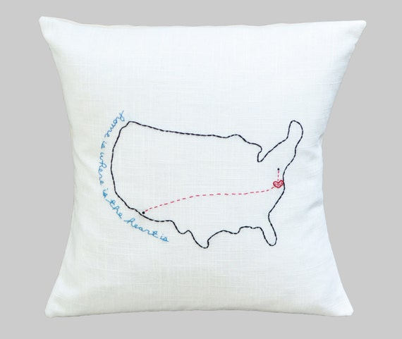 SALE Mother's Pillow - US Home Is Where The Heart Is w/ Connecting Hearts 3+ Personalized Map Gift