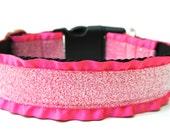 """Glitter  Dog Collar 1.5"""" Pink Dog Collar SIZE LARGE"""