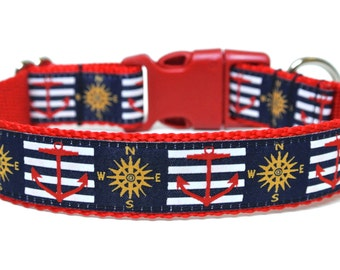 "Nautical Dog Collar 1"" Anchor Dog Collar"