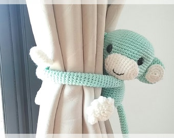 Monkey curtain tie back, cotton yarn crochet monkey, amigurumi.