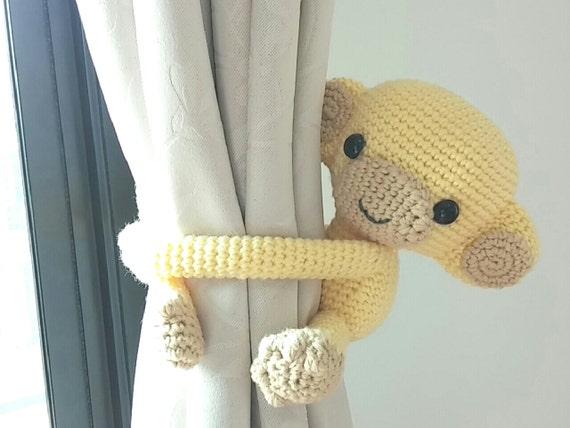 Amigurumi Cotton Yarn : Monkey curtain tie back cotton yarn crochet toy amigurumi.