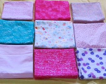 Receiving Blankets in 100% cotton flannel for baby girls in pink, turquois, white, yellow, blue, green, purple