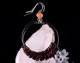 Brown Heishi Shell Hoop Earrings - Brown Shell Earrings - Brown Dangling Earrings - Brown Handmade Costume Jewelry - Free Shipping Made USA