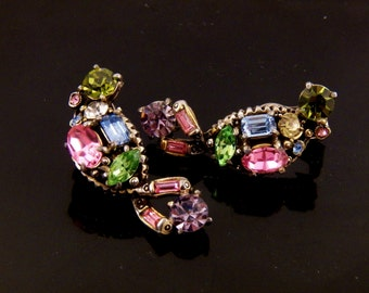 Vintage Clip On Hollycraft Earrings - 1955 Clip-On Hollycraft - Multi Color Crystal Rhinestone Earrings - Costume Jewelry - Free Shipping