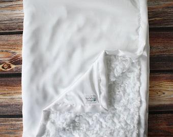 Minky Blanket, Blessing Blanket, Baptism blanket, Christening Blanket, Baby Gift, soft Blanket, White minky, baby boy, baby girl