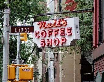New York Photograph, Fine Art, Upper East Side, Diner Decor, Kitchen, Food Photography, Retro, Vintage, Coffee Shop Sign , Dorm, Hipster,Red