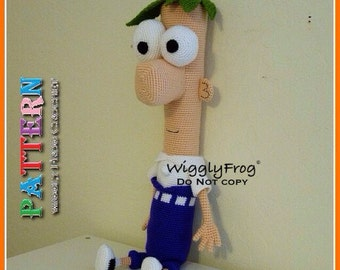 """Ferb (from Phineas and Ferb) - Amigurumi Crochet PATTERN """"PDF file"""""""