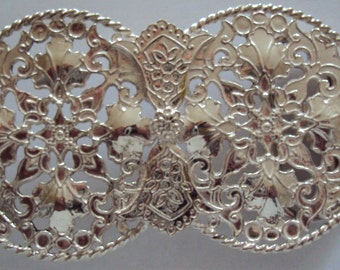 "Stunning ""Victorian"" style 'design Handcrafted Solid Sterling Silver  Belt Buckle with Belt"