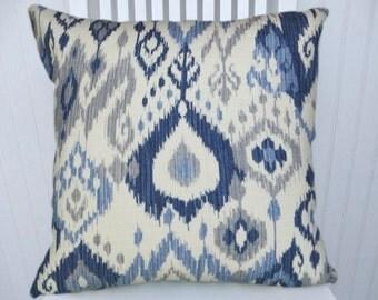 Blue, Grey Pillow Cover--Cotton Decorative Pillow, Designer Ikat Accent Throw Pillow- Lumbar Pillow